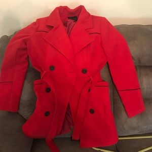 Red and black dress pea coat with belt
